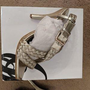 Gold braided sling back